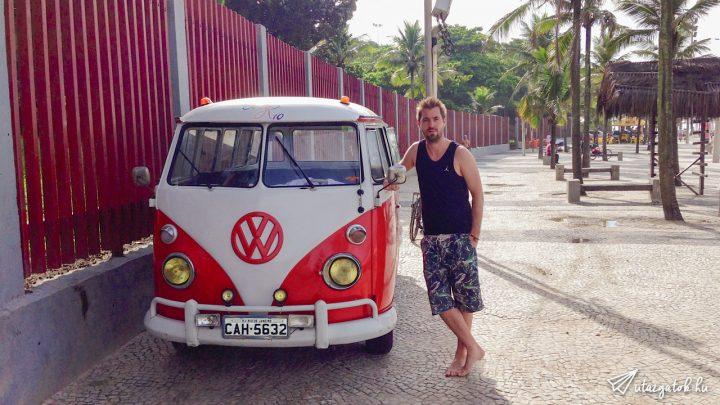 András és egy felújított VW Transporter T1 Ipanemán